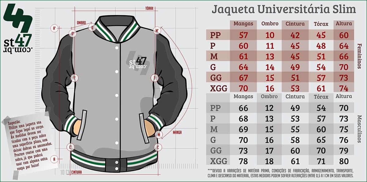 Tabela de tamanhos - Jaqueta Slim