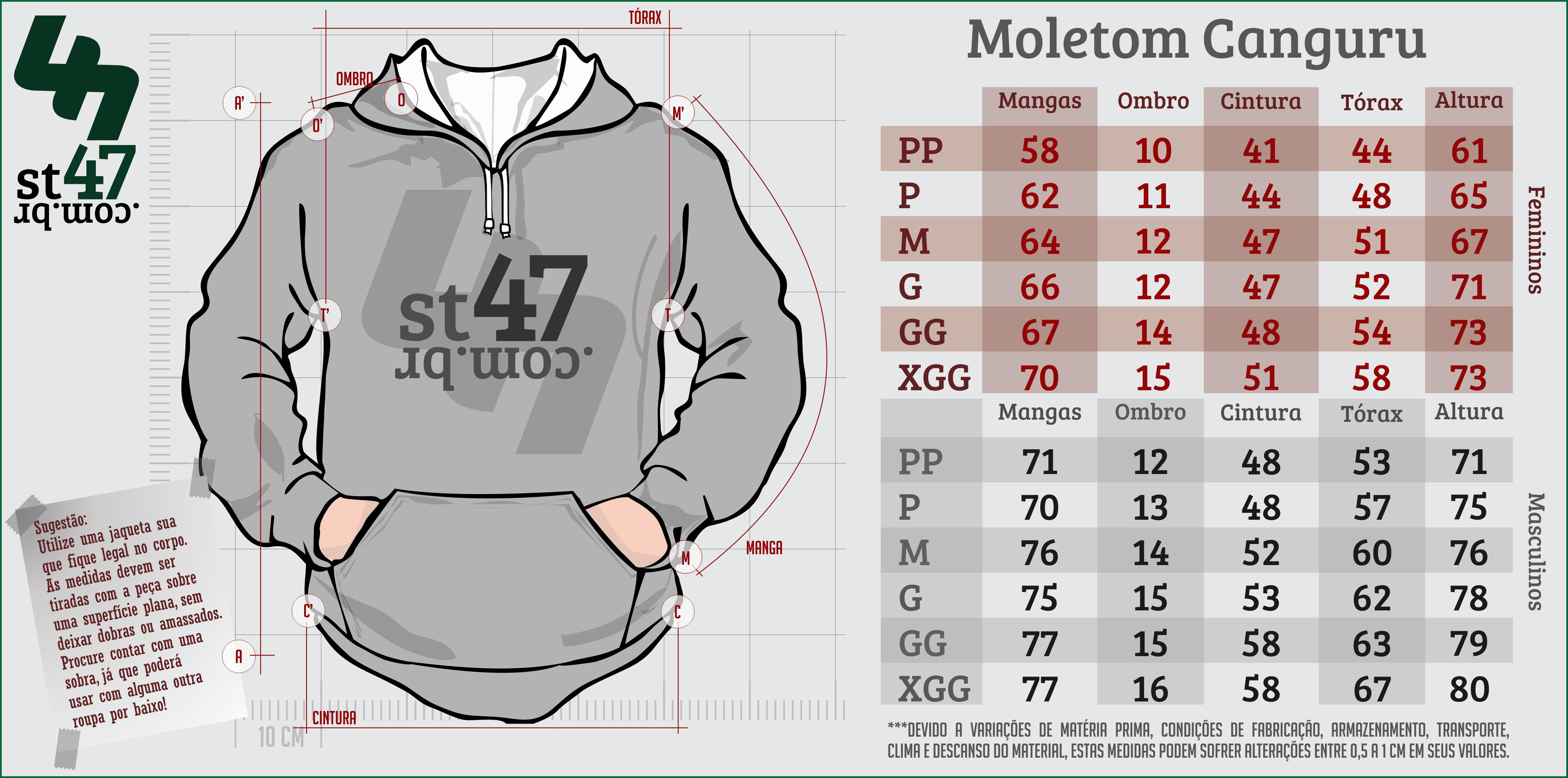 Tabela de tamanhos - Moletom